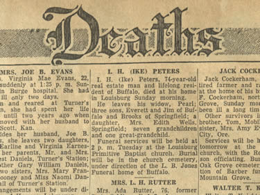 Ozarks Obituary Collection