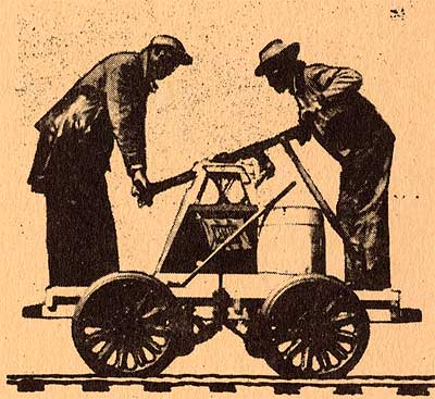 Orange empire railway museum rail festival pumping the handcar.