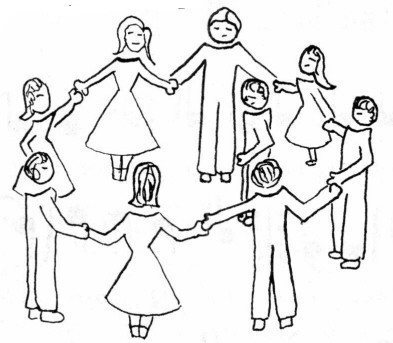 Formation: Large single circle of couples holding hands with girls on the