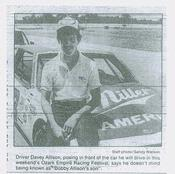 Davey Allison from Springfield Leader-Press August 10, 1985 page C-1