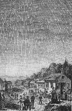 A famous depiction of the 1833 meteor storm, produced in 1889 for Bible Readings for the Home Circle