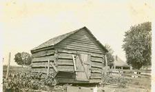 "From the Library collection, on back is written ""Grainery built in early days in which to store wheat...Erected by D. Headlee."" ca 1958"